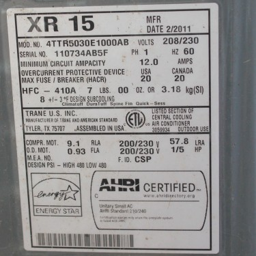 HVAC Label Photo